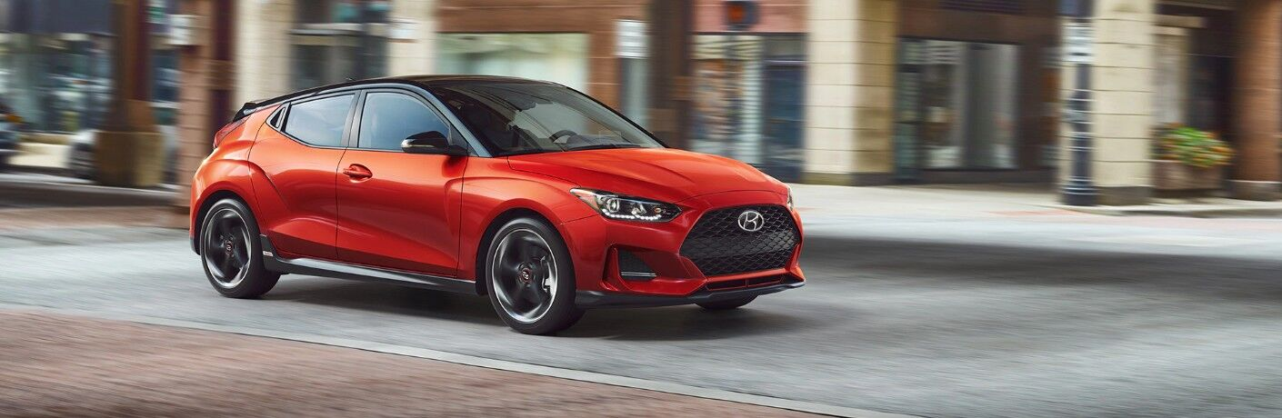 2020 Hyundai Veloster Turbo Driving Down the Road