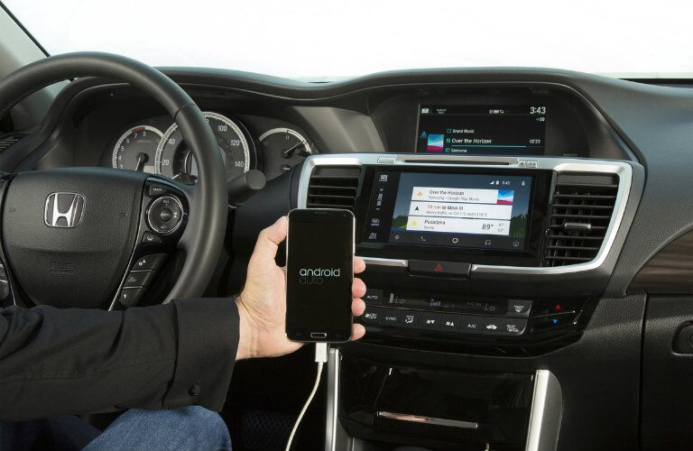 Driver setting up Android phone to 2017 Honda Accord
