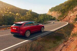 Jaguar E-Pace driving down road