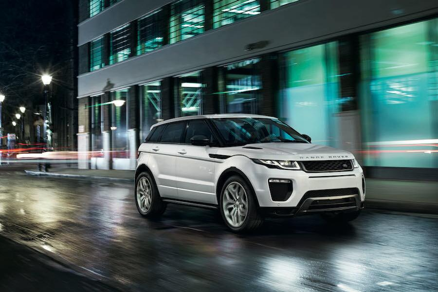 White Range Rover Evoque on street