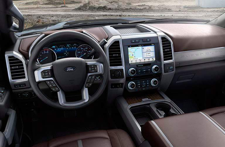 Steering wheel and infotainment of 2017 Ford F-250