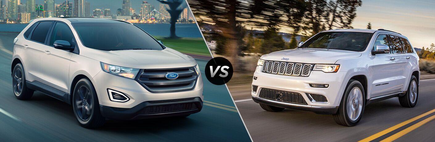white 2018 Ford Edge set up against white 2018 Jeep Grand Cherokee