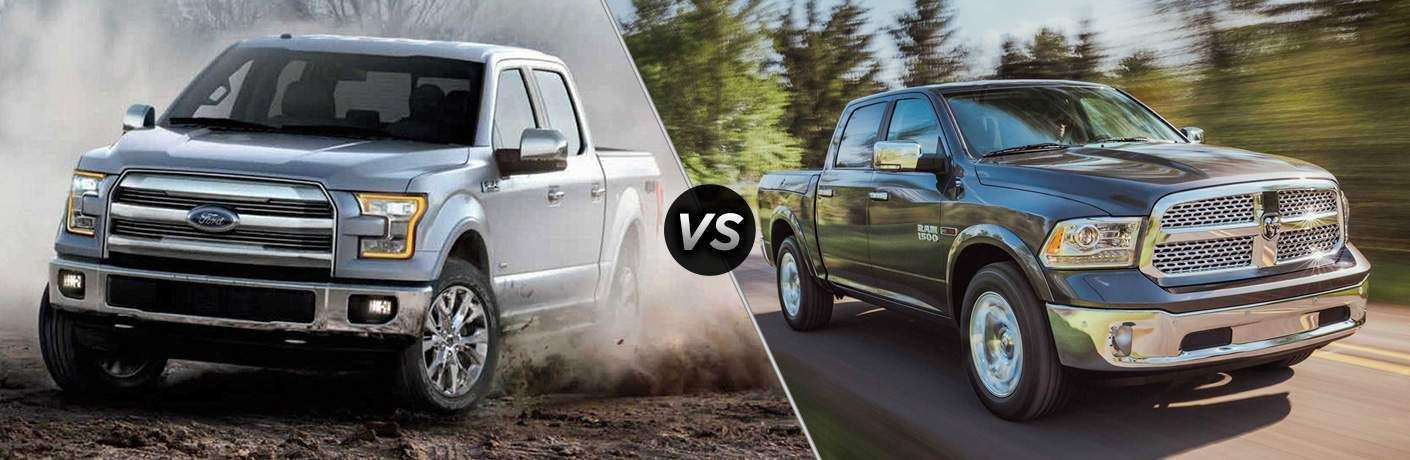 Side by side picture of 2018 Ford F-150 against the 2018 Dodge Ram 1500