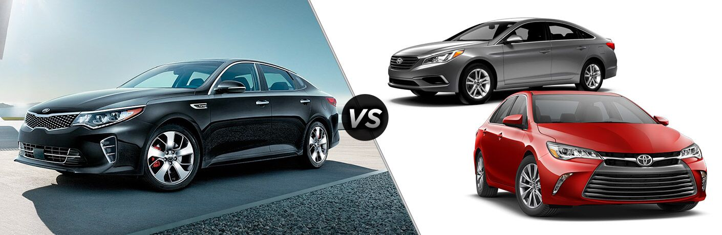 2017 Kia Optima vs 2017 Hyundai Sonata and 2017 Toyota Camry
