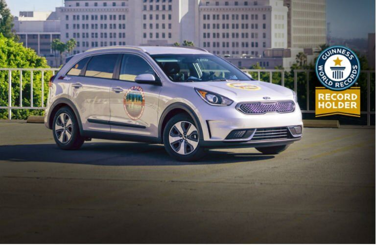 2017 Kia Niro hybrid crossover Guinness Record cross-country MPG