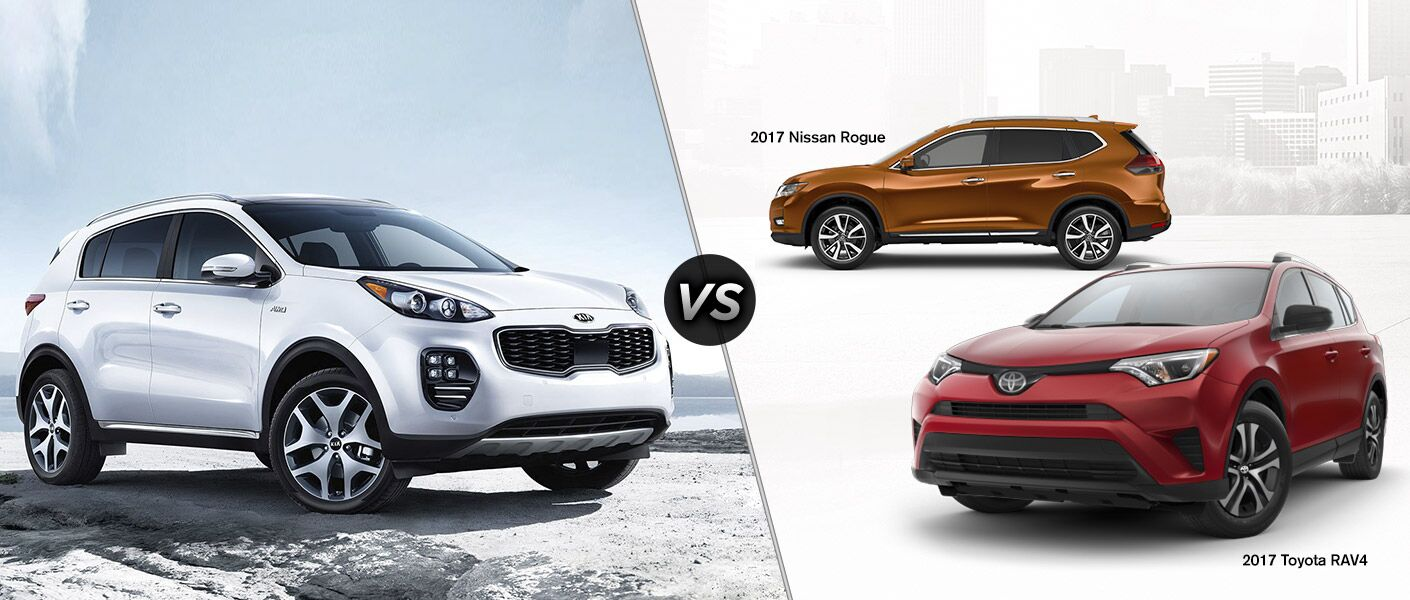 2017 Kia Sportage vs 2017 Toyota RAV4 and 2017 Nissan Rogue