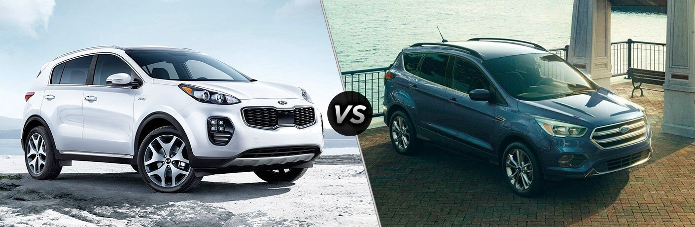 Split screen images of the 2018 Kia Sportage and the 2018 Ford Escape