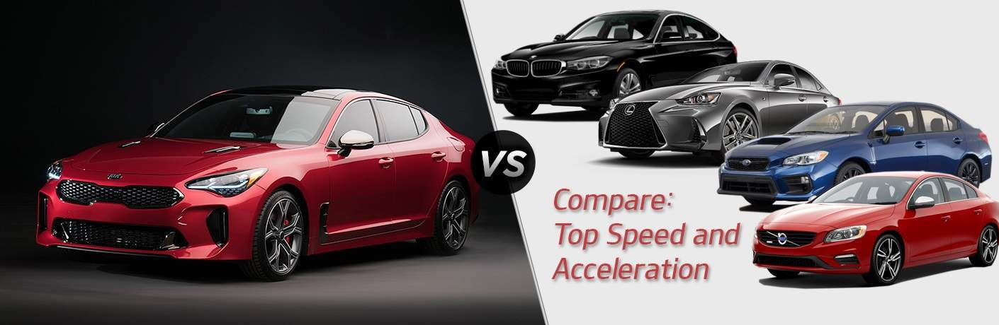 2018 Kia Stinger Compare Top Speed and Acceleration vs. BMW Lexus Volvo and Subaru