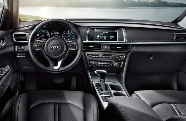 view of driver's seat in the 2018 Kia Optima Hybrid