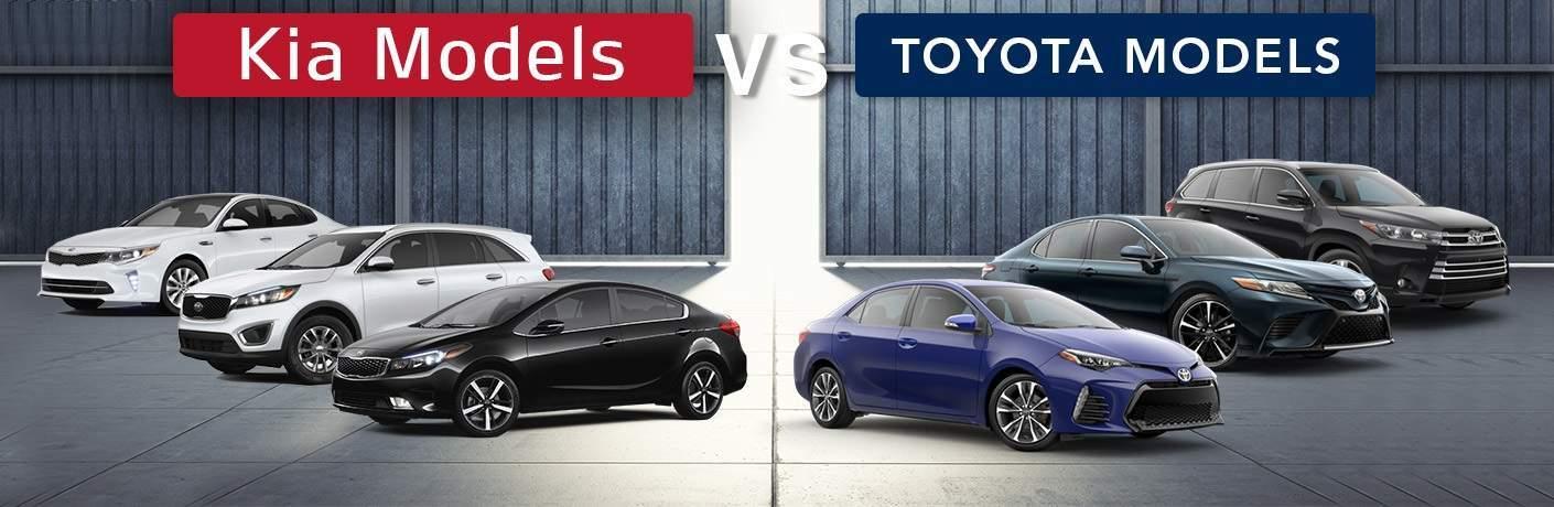 Kia vs. Toyota Optima Cadenza Sportage and Sorento vs. Corolla Camry Prius RAV4