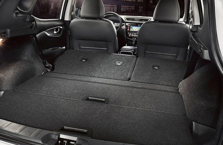 Rear seat folded in the 2018 Nissan Rogue