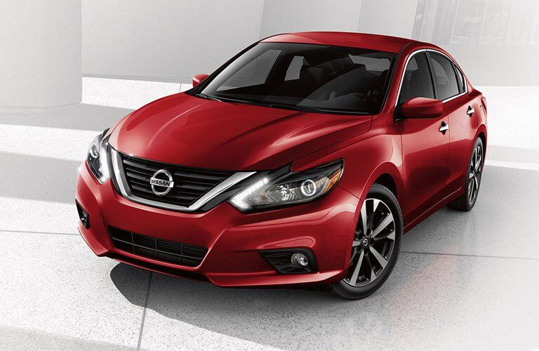 View of a red 2018 Nissan Altima from the front