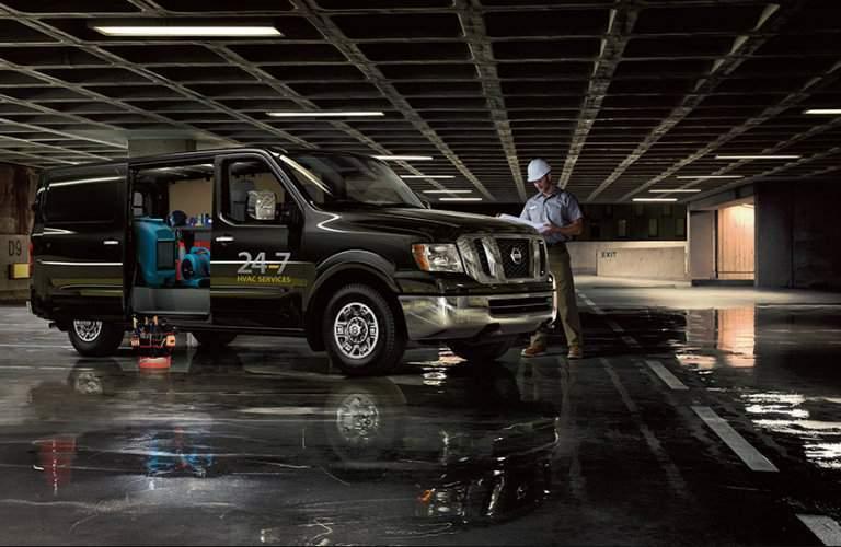 2017 Nissan NV1500 cargo van in a garage