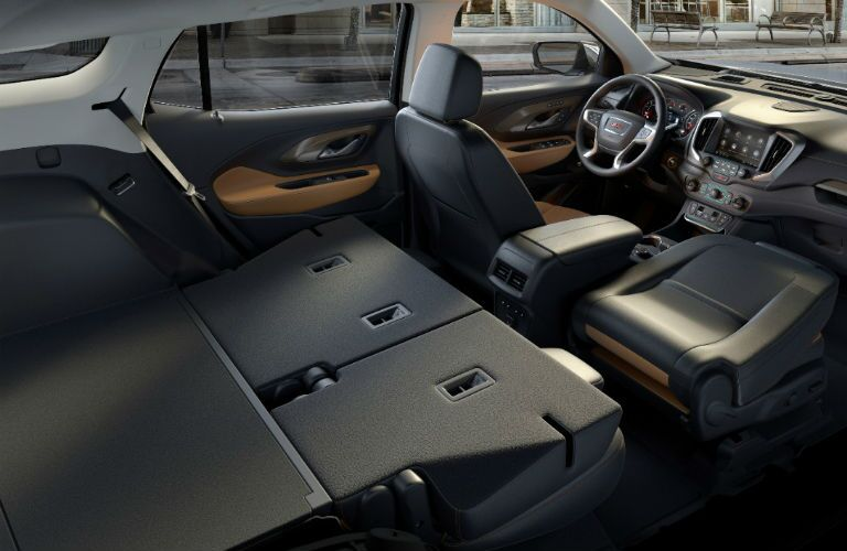 Folded down seats in the 2018 GMC Terrain, which provide more interior cargo space