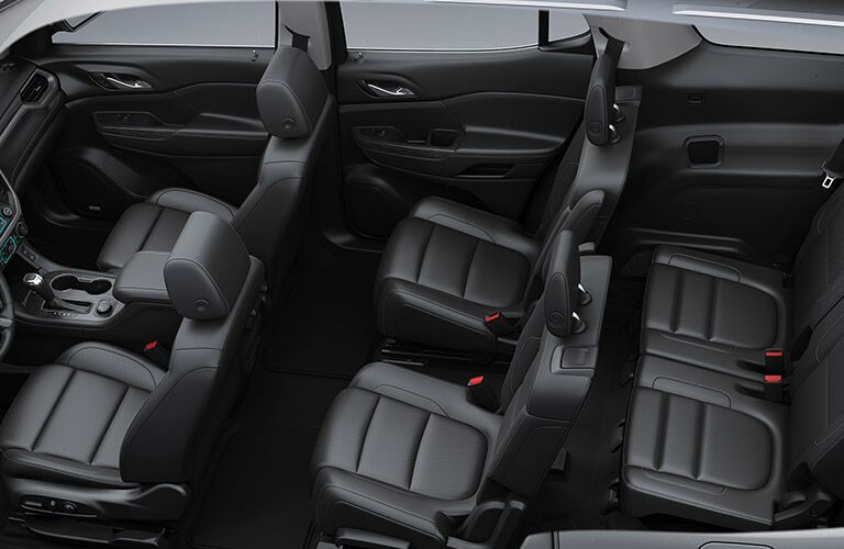 2019 GMC Acadia interior top view of front and back cabin