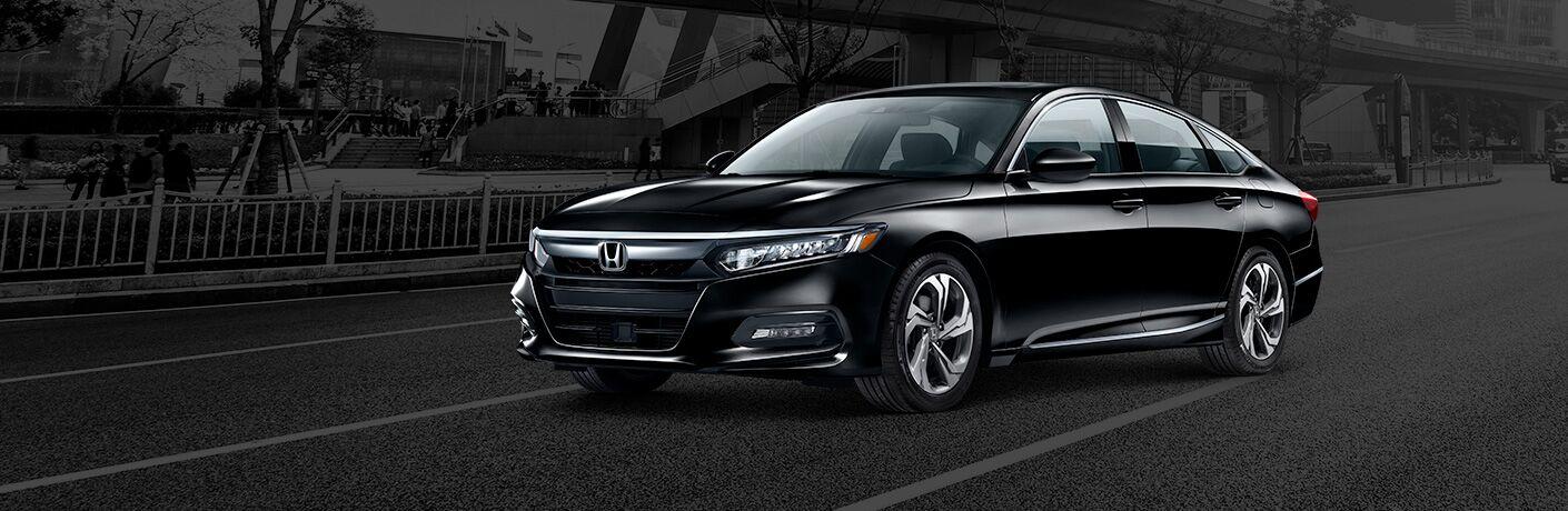 2020 Honda Accord EX black paint driving down road black background