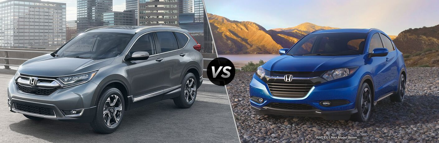 Comparison image of a silver 2018 Honda CR-V and a Blue 2018 Honda HR-V