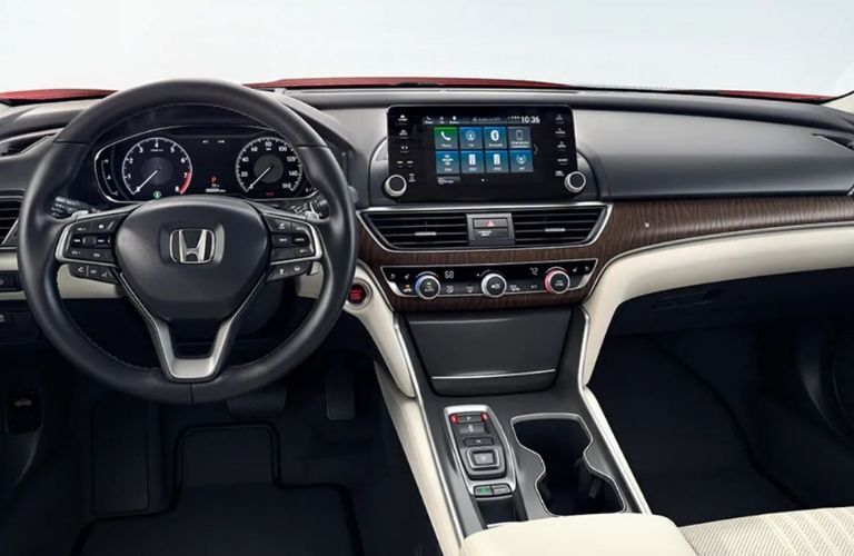 Interior view of the steering wheel and touch-screen display inside a 2019 Honda Accord Hybrid