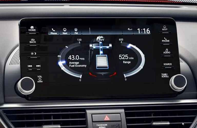 Interior view of the touch-screen display inside a 2019 Honda Accord Hybrid