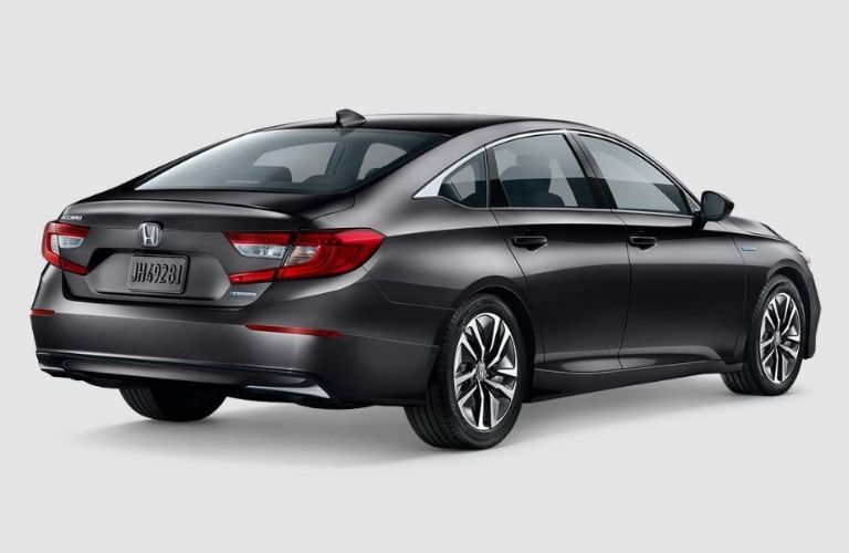 Exterior view of the rear of a gray 2019 Honda Accord Hybrid