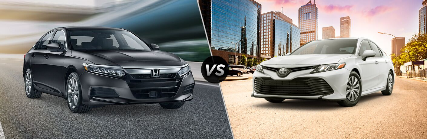 Comparison image of a black 2019 Honda Accord LX and a white 2019 Toyota Camry L