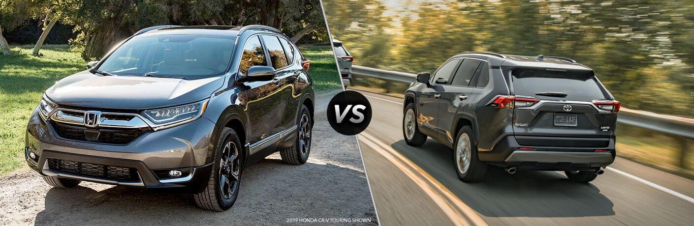 Comparison image of a gray 2019 Honda CR-V and a gray 2019 Toyota RAV4