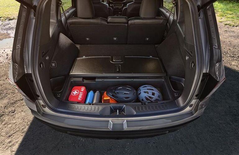 Interior view of the rear cargo area inside a 2019 Honda Passport