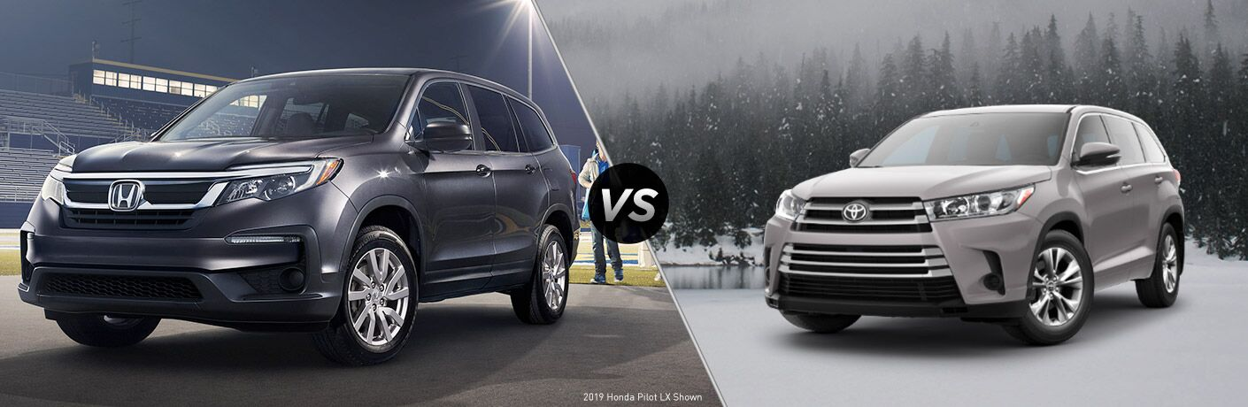 Comparison image of a gray 2019 Honda Pilot and a silver 2019 Toyota Highlander