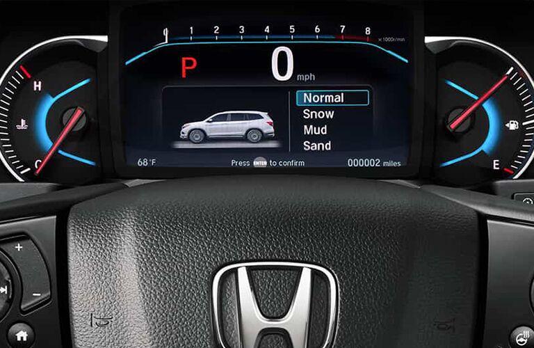 Closeup view of the digital instrument cluster inside a 2019 Honda Pilot