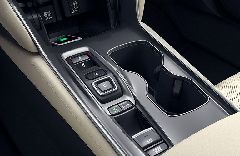 2020 Honda Accord interior close up of cupholders shifter and center console