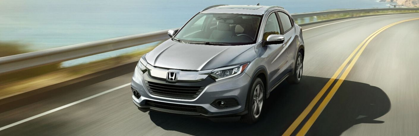 2020 Honda HR-V driving down road from the exterior front drivers side angle