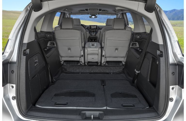 2021 Honda Odyssey view of open back with seats folded down