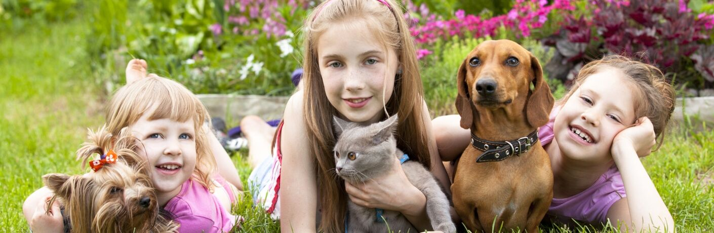Image of three children laying in the grass with their loving pets