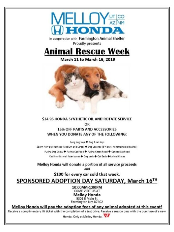Flyer highlighting the details for Animal Rescue Week at Melloy Honda