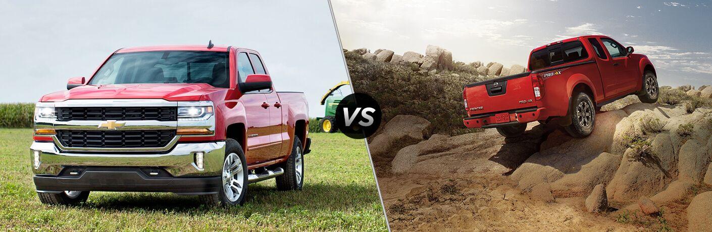 2018 Chevy Silverado 1500 vs 2018 Nissan Frontier, Both Trucks in Red