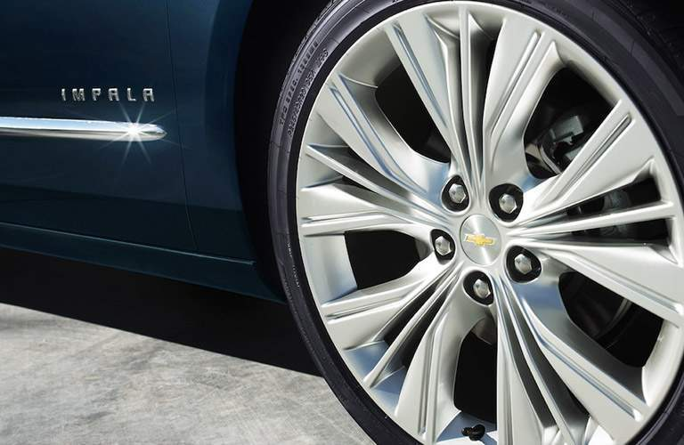 Detail of the 2018 Chevy Impala's wheel