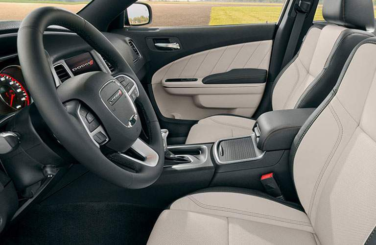front seating space and steering wheel in the 2018 dodge charger