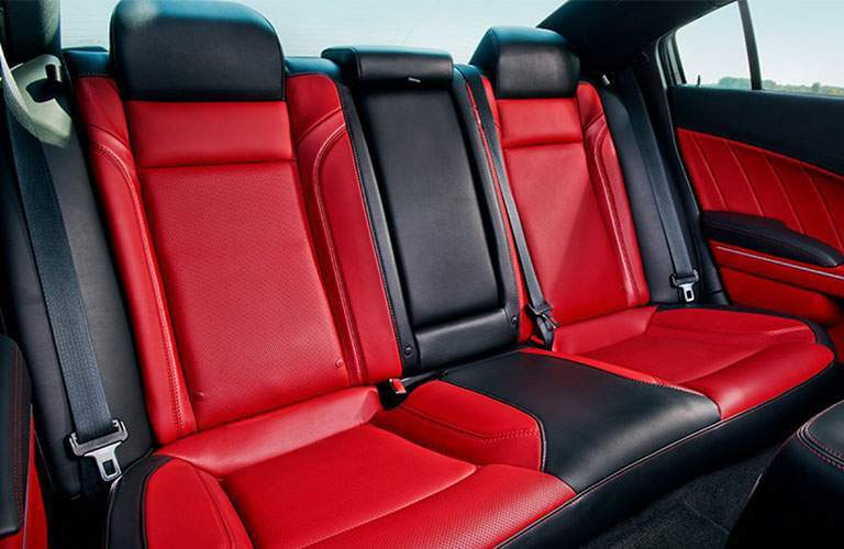black and red two tone rear seats in the dodge charger