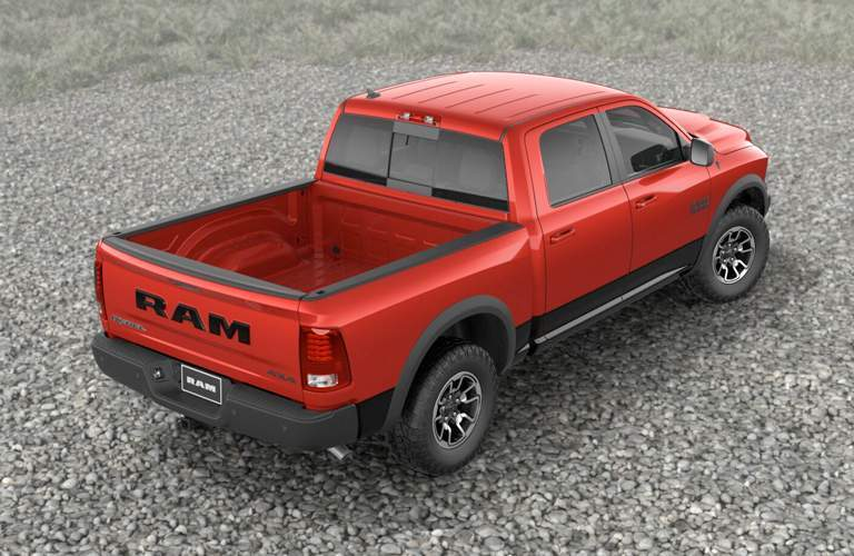 Overhead view of bed of red RAM 1500