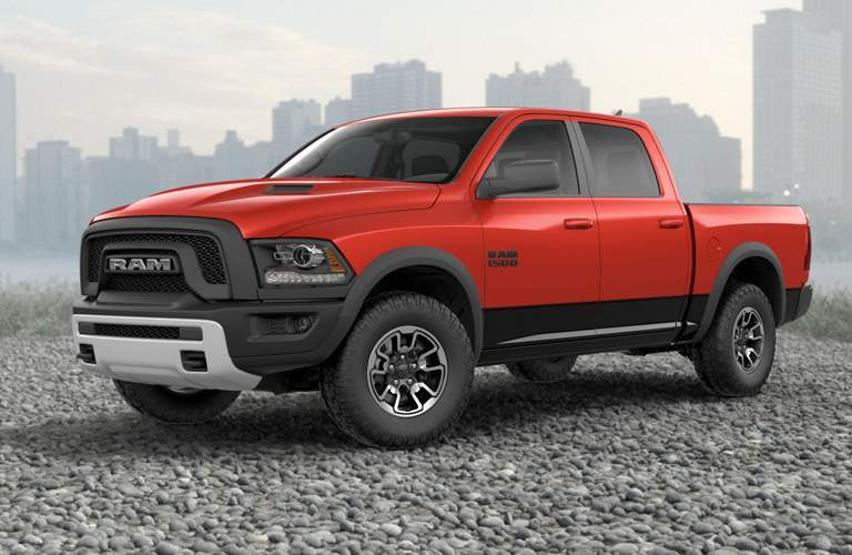 Profile view of red 2018 RAM 1500