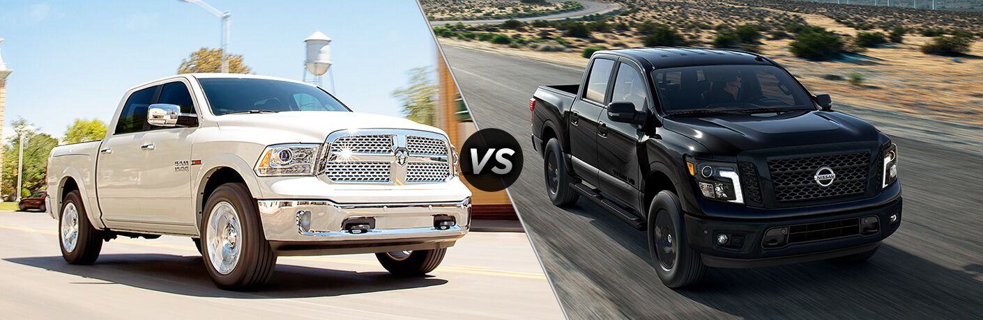 White 2018 RAM 1500 positioned next to black 2018 Nissan TITAN in comparison image