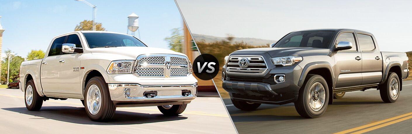 White 2018 RAM 1500 positioned next to gray 2018 Toyota Tacoma in comparison image