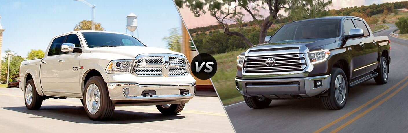 White RAM 1500 positioned next to black Toyota Tundra in comparison image