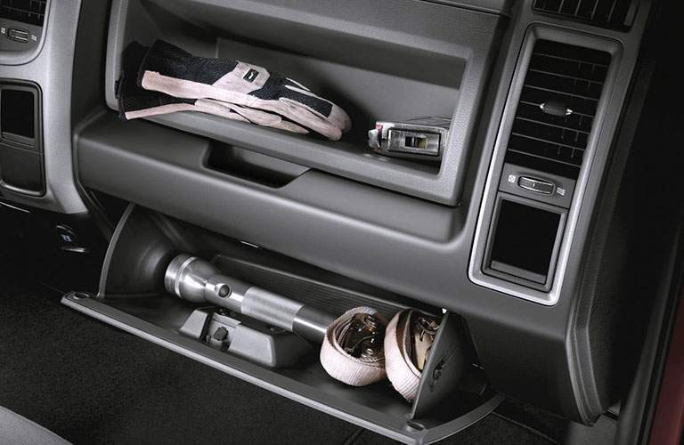 Open glove boxes in the 2018 RAM 2500