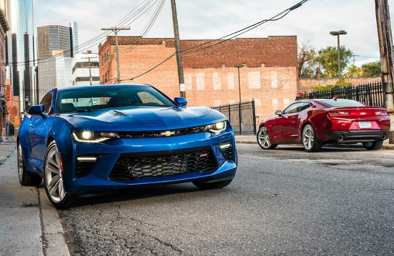 2018 Chevy Camaro in red and blue