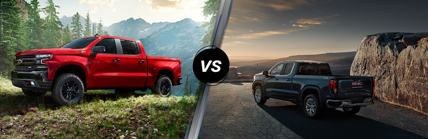 Front driver angle of a red 2019 Chevy Silverado 1500 on left VS Rear driver angle of a gray 2019 GMC Sierra 1500 on right