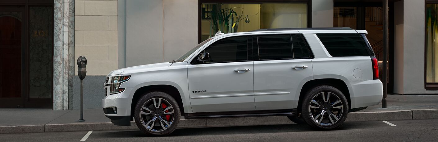 2019 Chevy Tahoe white side view