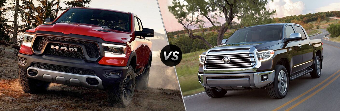 Front driver angle of a red 2019 Ram 1500 on left VS front driver angle of a gray 2019 Toyota Tundra on right