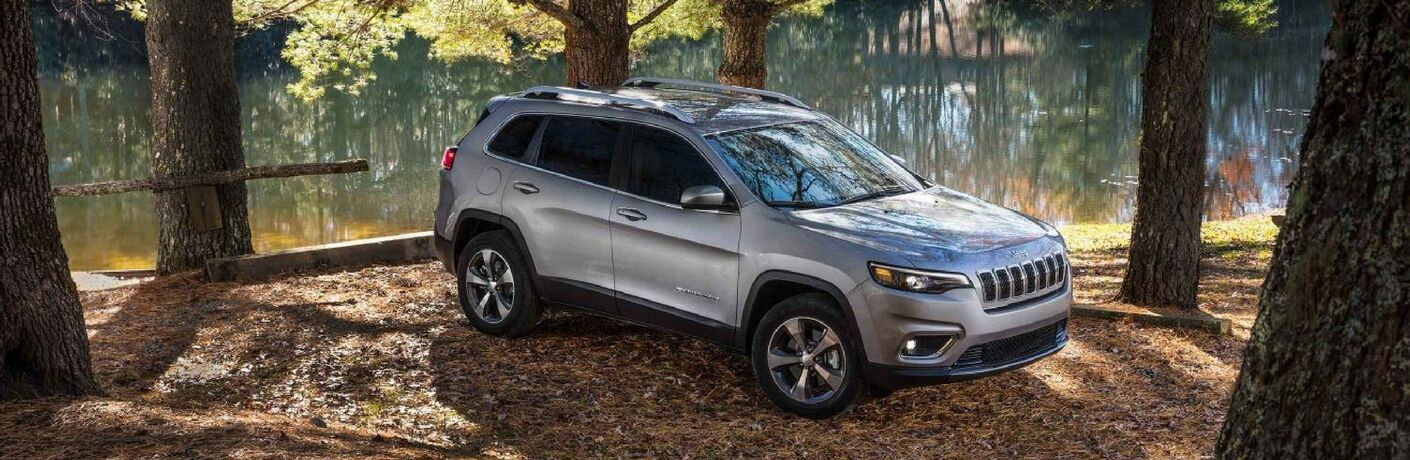 silver 2019 Jeep Cherokee parked in wooded area next to river