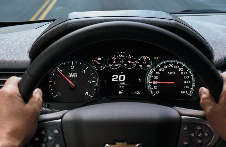 steering wheel and gauges of 2020 tahoe